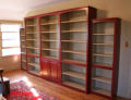 brick red and basil custom bookcase